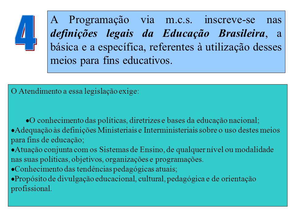 A Programação via m.c.s. inscreve-se nas definições legais da Educação Brasileira, a básica e a específica, referentes à utilização desses meios para fins educativos.