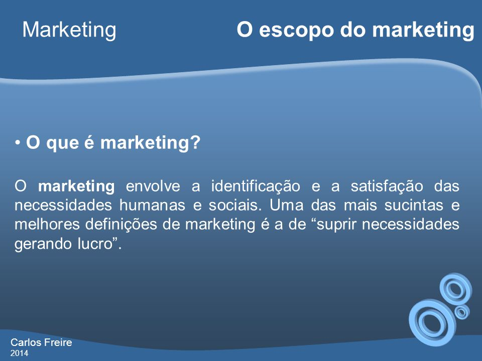 Marketing O escopo do marketing O que é marketing
