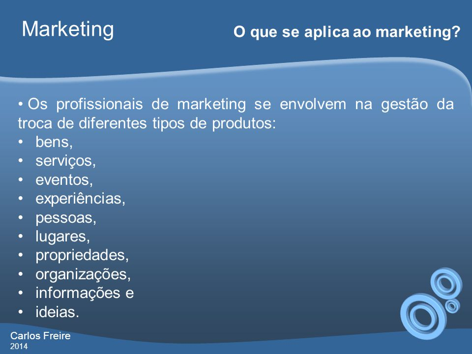Marketing O que se aplica ao marketing