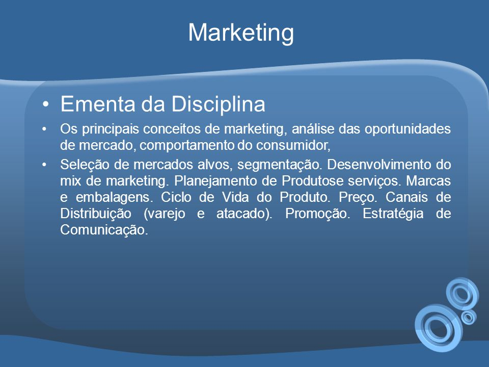 Marketing Ementa da Disciplina