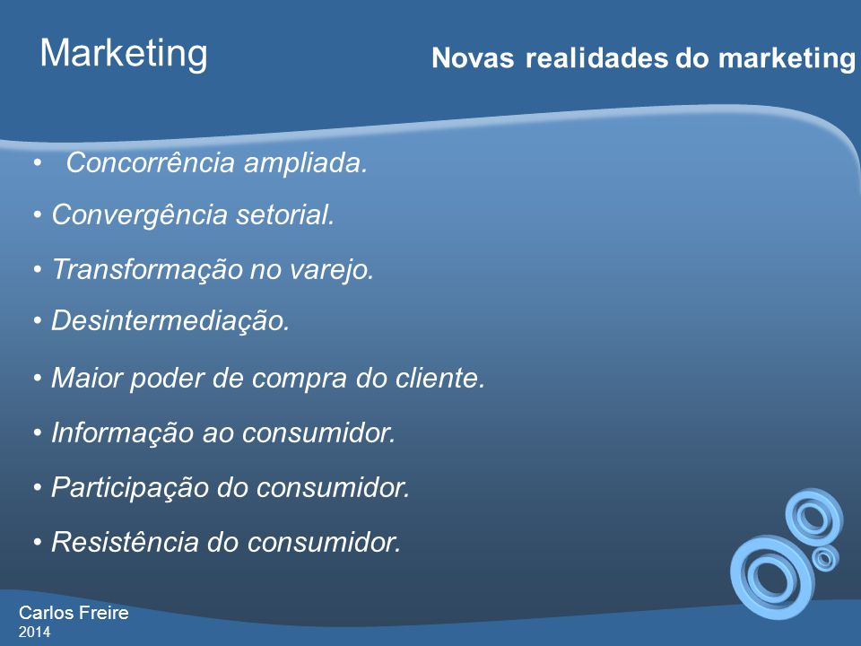Marketing Novas realidades do marketing Concorrência ampliada.