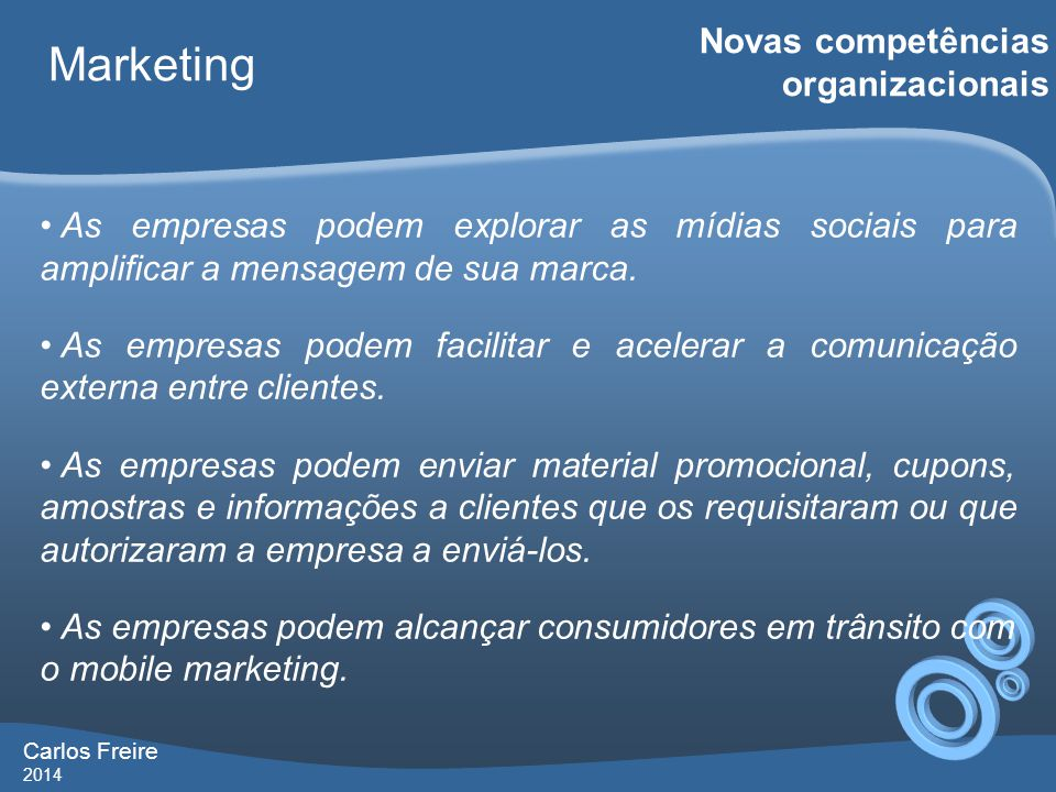 Marketing Novas competências organizacionais