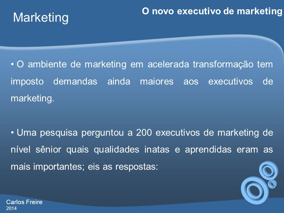 Marketing O novo executivo de marketing