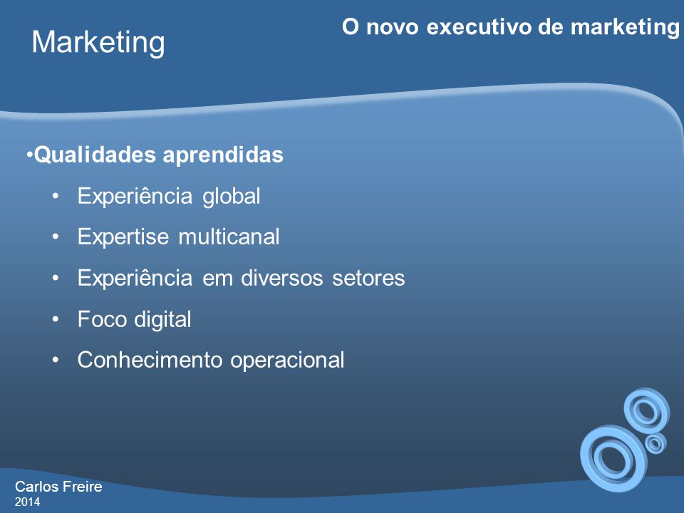 Marketing O novo executivo de marketing Qualidades aprendidas