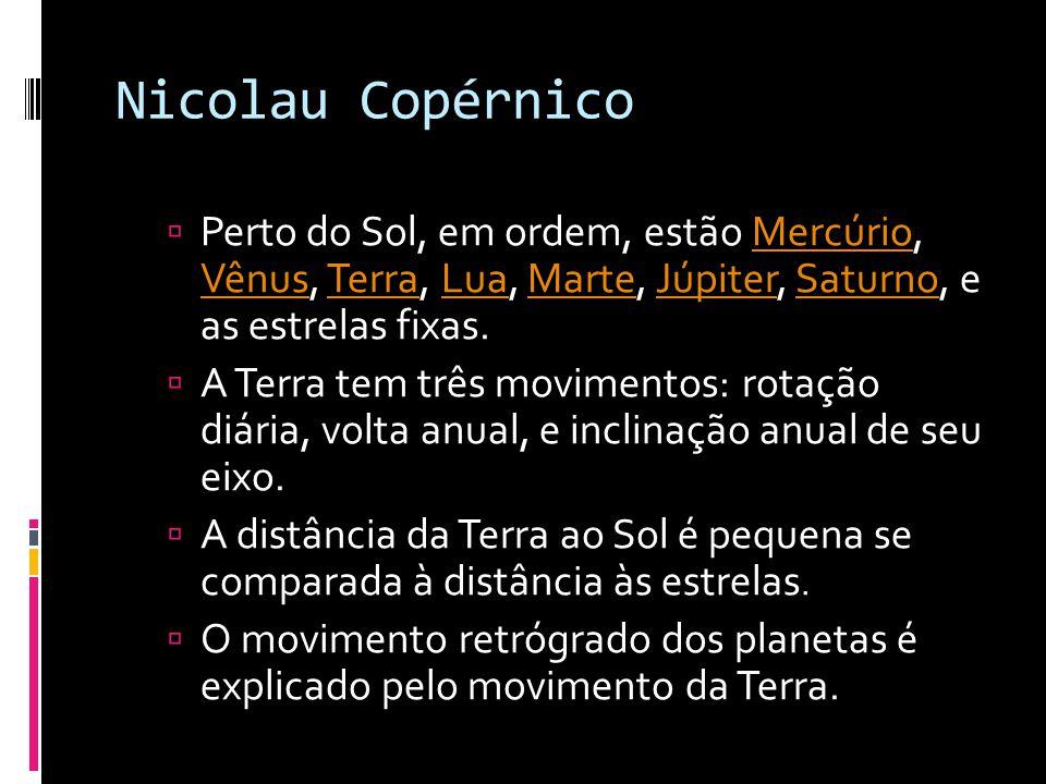 Nicolau Copérnico Perto do Sol, em ordem, estão Mercúrio, Vênus, Terra, Lua, Marte, Júpiter, Saturno, e as estrelas fixas.