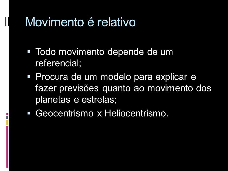 Movimento é relativo Todo movimento depende de um referencial;