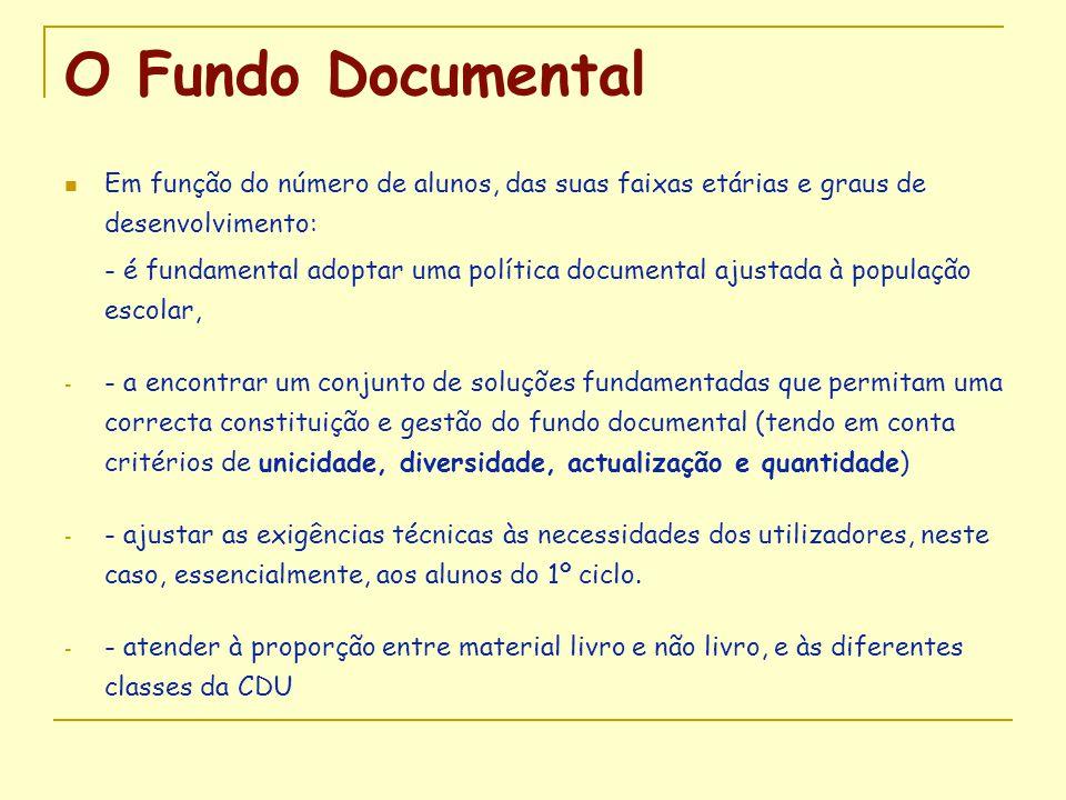 O Fundo Documental Em função do número de alunos, das suas faixas etárias e graus de desenvolvimento: