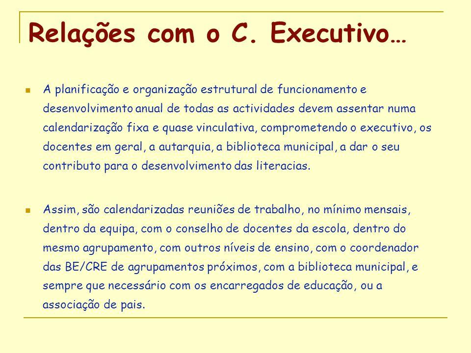 Relações com o C. Executivo…