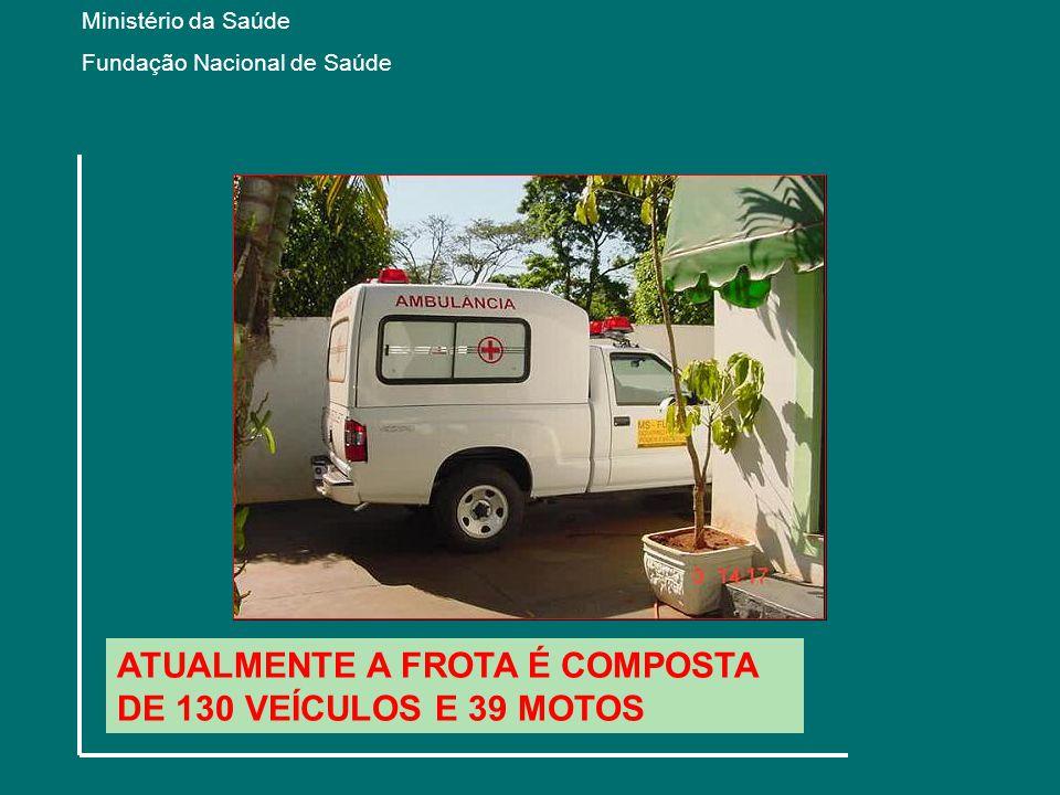 ATUALMENTE A FROTA É COMPOSTA DE 130 VEÍCULOS E 39 MOTOS