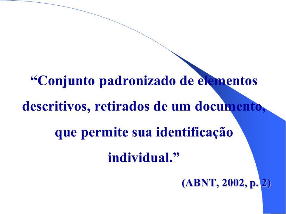 Conjunto padronizado de elementos descritivos, retirados de um documento, que permite sua identificação individual.