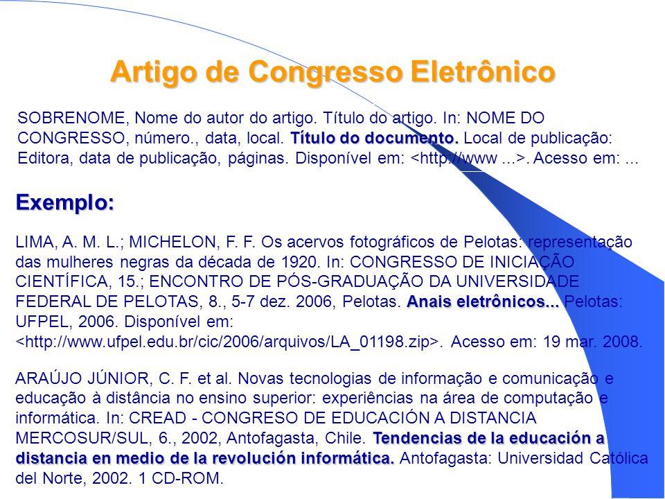 Artigo de Congresso Eletrônico