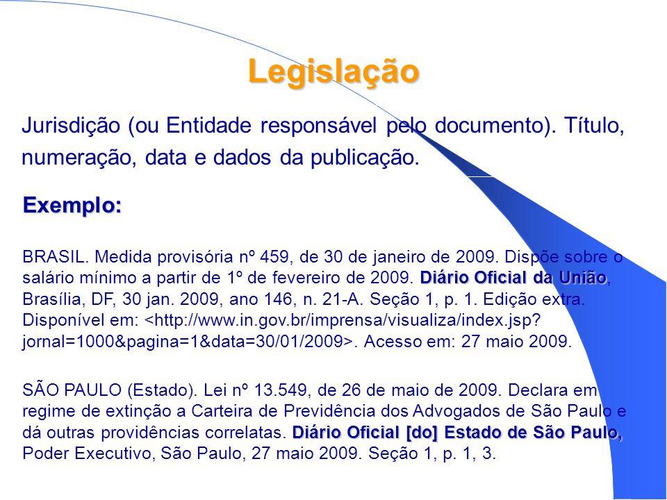 Legislação Jurisdição (ou Entidade responsável pelo documento). Título, numeração, data e dados da publicação.