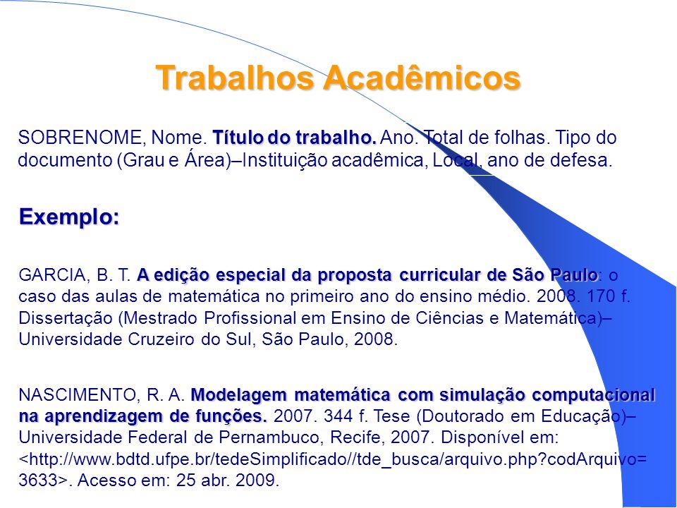 Trabalhos Acadêmicos Exemplo: