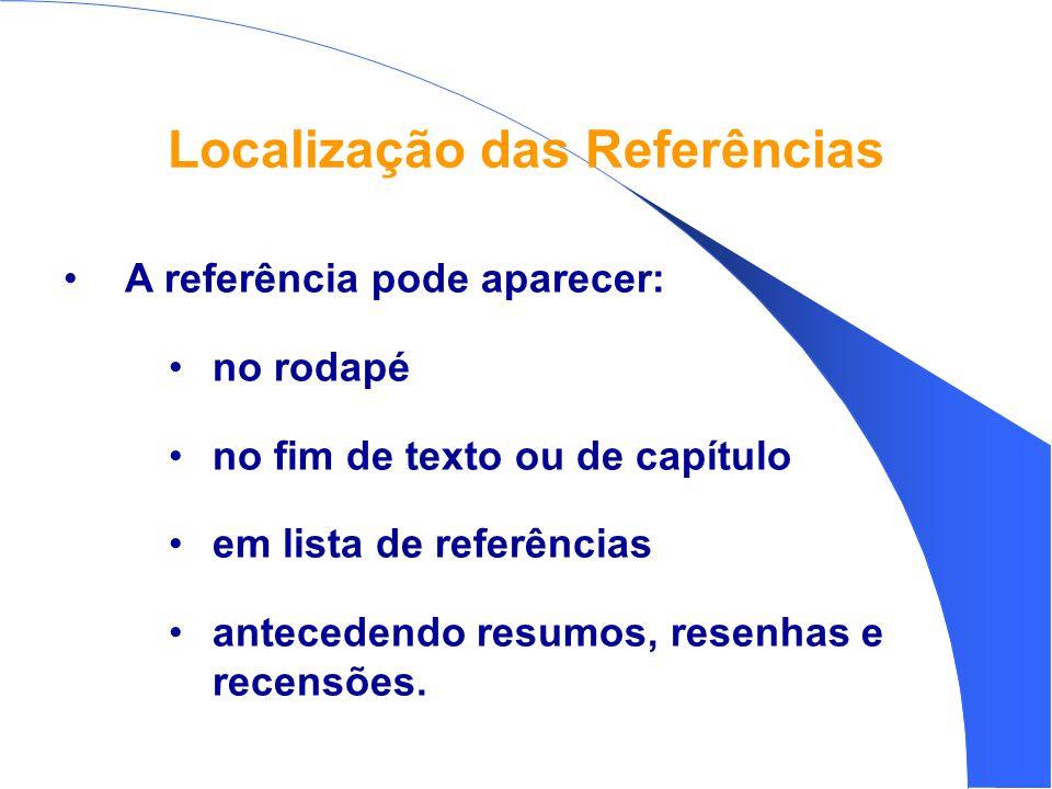 Localização das Referências