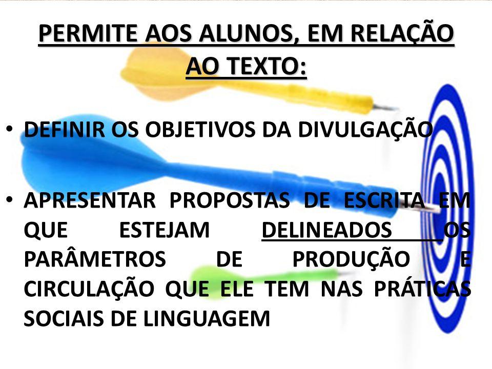 PERMITE AOS ALUNOS, EM RELAÇÃO AO TEXTO: