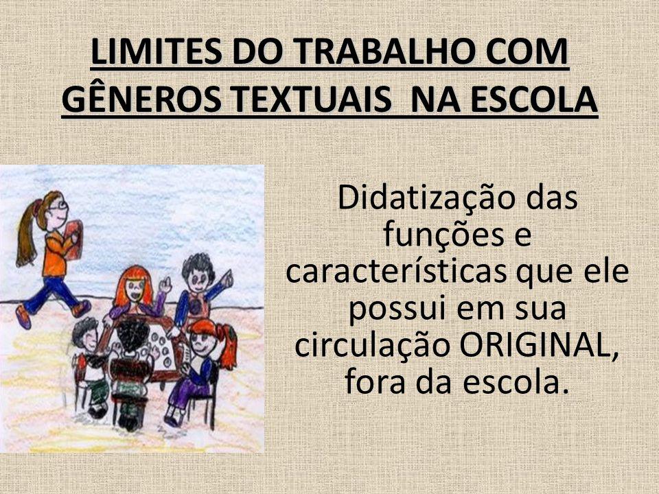 LIMITES DO TRABALHO COM GÊNEROS TEXTUAIS NA ESCOLA