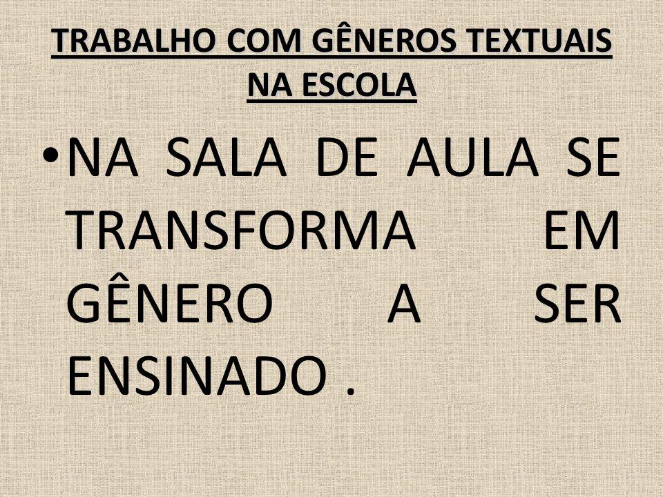 TRABALHO COM GÊNEROS TEXTUAIS NA ESCOLA