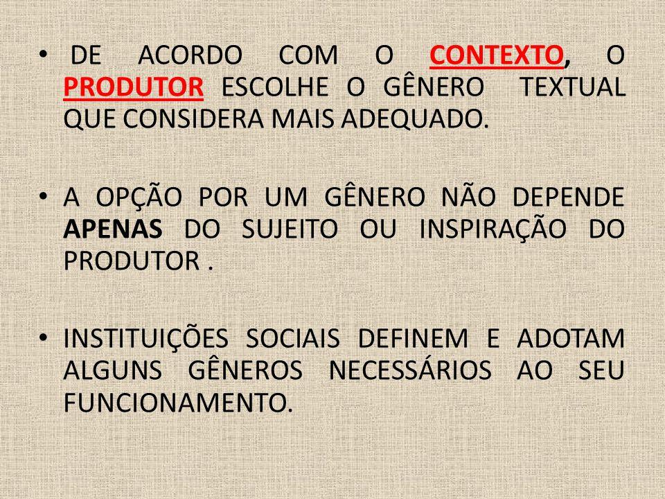 DE ACORDO COM O CONTEXTO, O PRODUTOR ESCOLHE O GÊNERO TEXTUAL QUE CONSIDERA MAIS ADEQUADO.