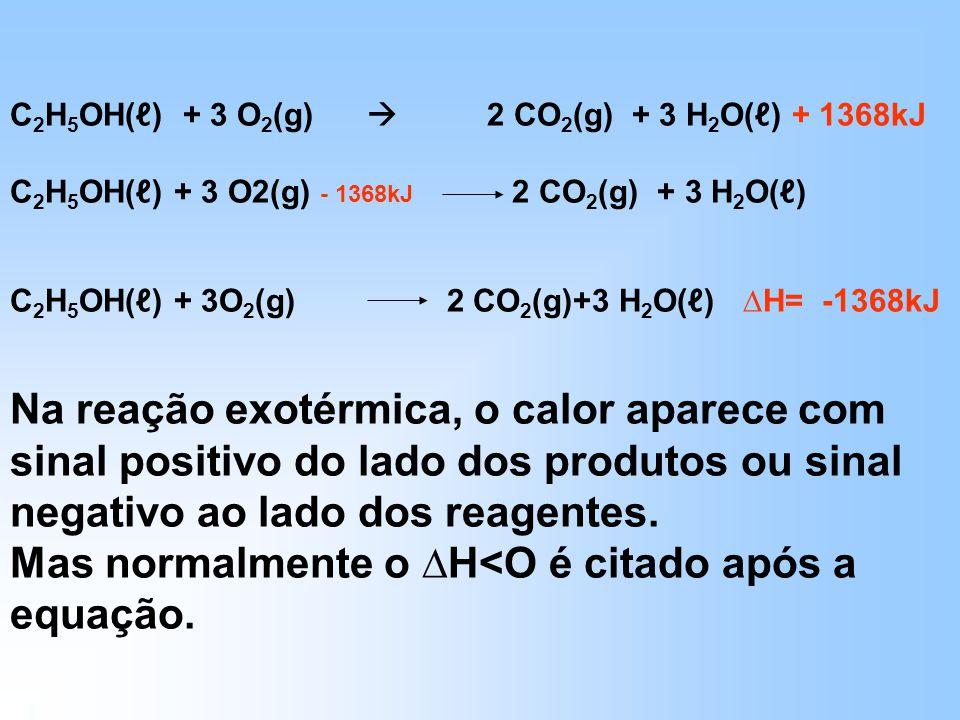 Mas normalmente o ∆H<O é citado após a equação.