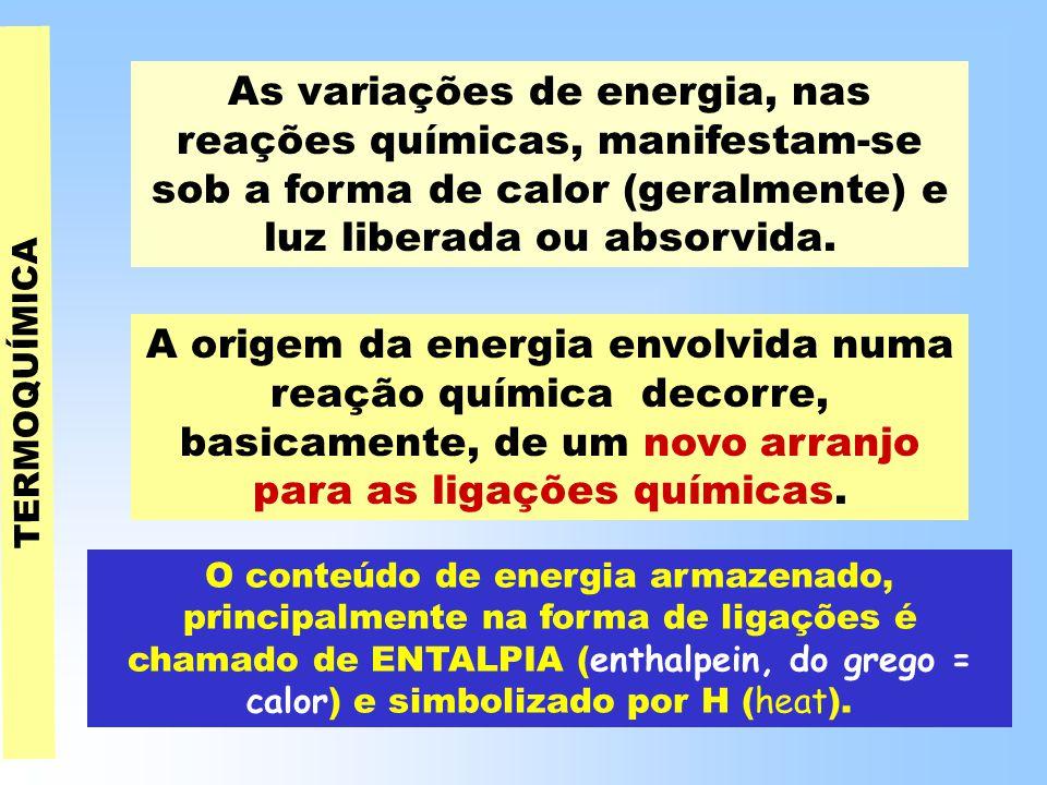 As variações de energia, nas reações químicas, manifestam-se sob a forma de calor (geralmente) e luz liberada ou absorvida.