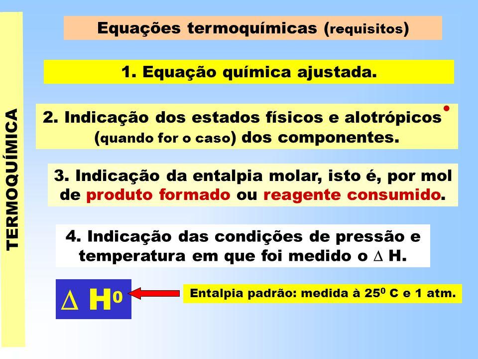  H0 Equações termoquímicas (requisitos) 1. Equação química ajustada.