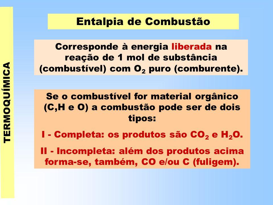 I - Completa: os produtos são CO2 e H2O.