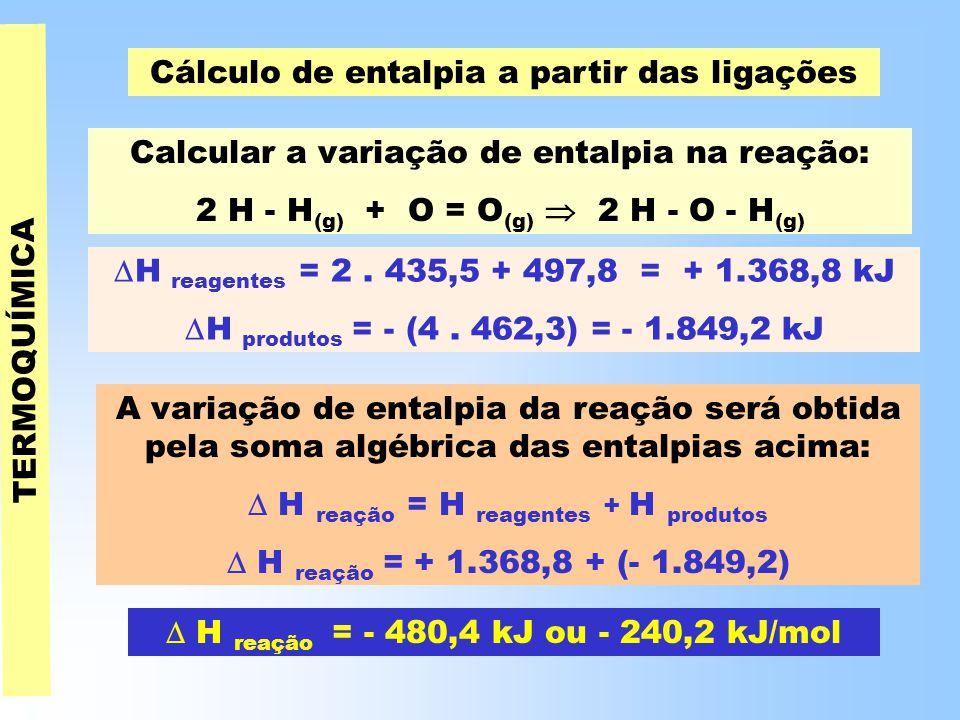 Cálculo de entalpia a partir das ligações