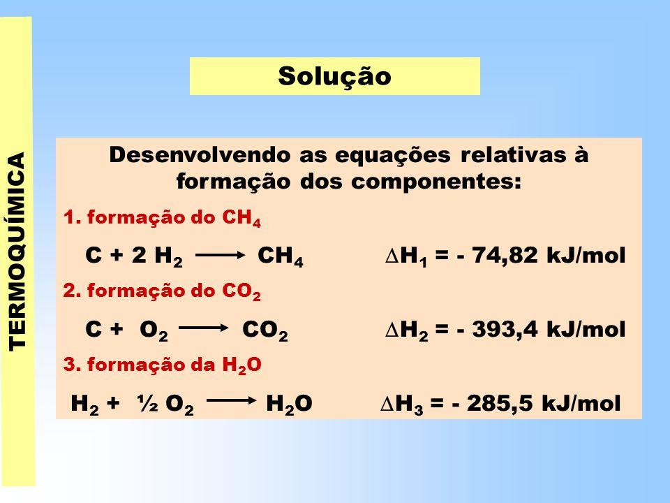 Desenvolvendo as equações relativas à formação dos componentes: