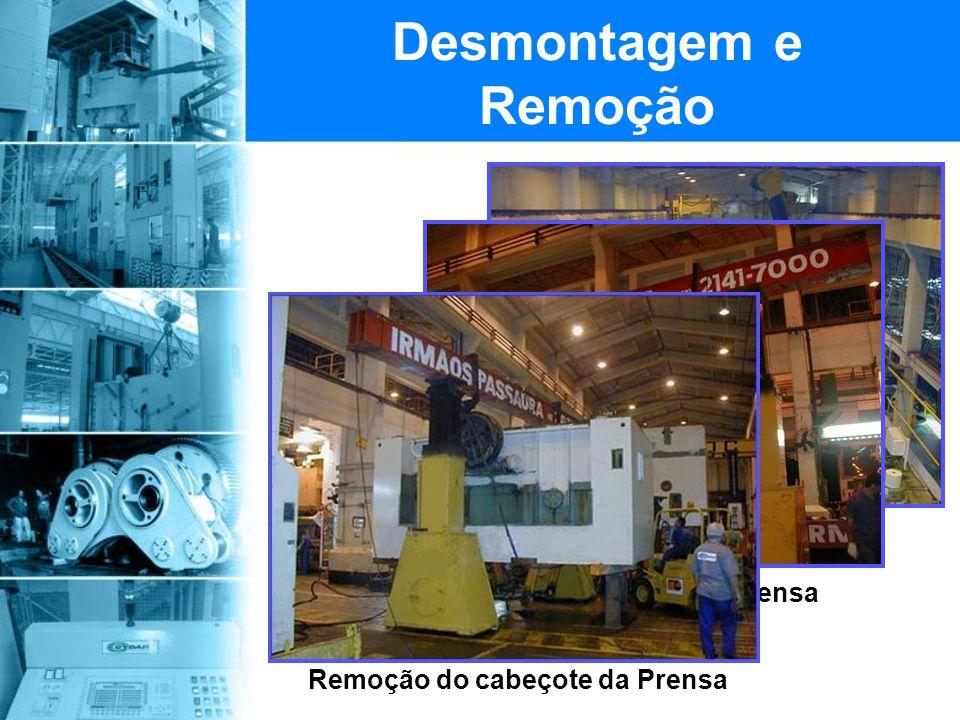 Desmontagem e Remoção Inicio da desmontagem da linha de prensas