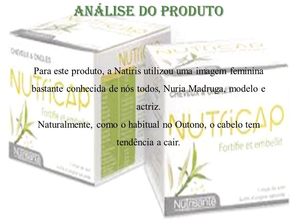 Análise do Produto Para este produto, a Natiris utilizou uma imagem feminina bastante conhecida de nós todos, Nuria Madruga, modelo e actriz.