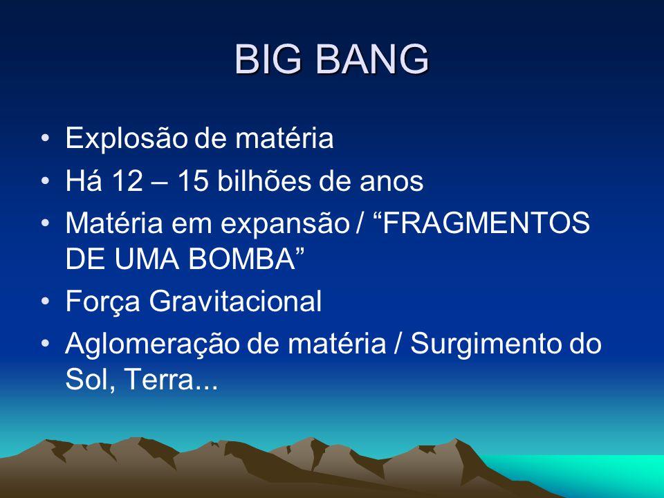 BIG BANG Explosão de matéria Há 12 – 15 bilhões de anos