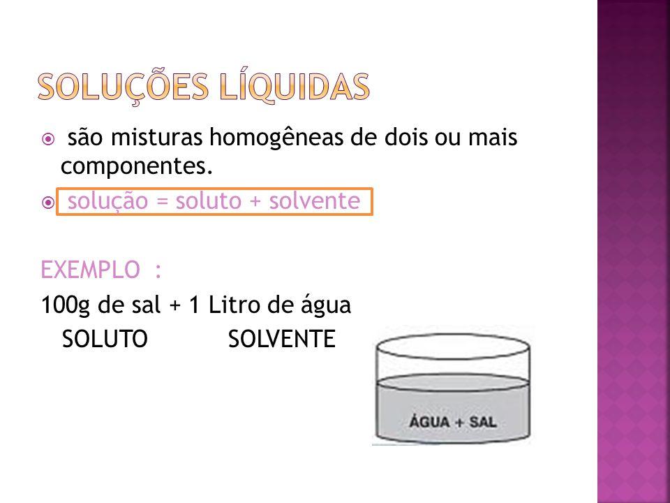 Soluções líquidas são misturas homogêneas de dois ou mais componentes.