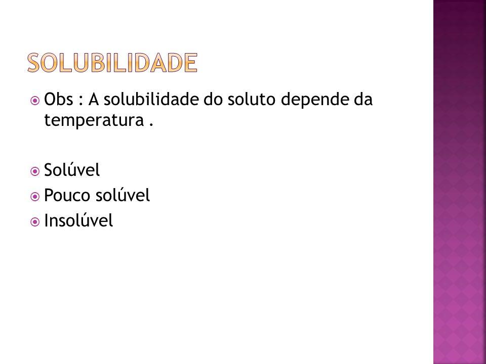 Solubilidade Obs : A solubilidade do soluto depende da temperatura .
