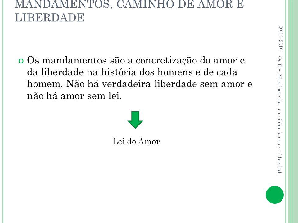 MANDAMENTOS, CAMINHO DE AMOR E LIBERDADE