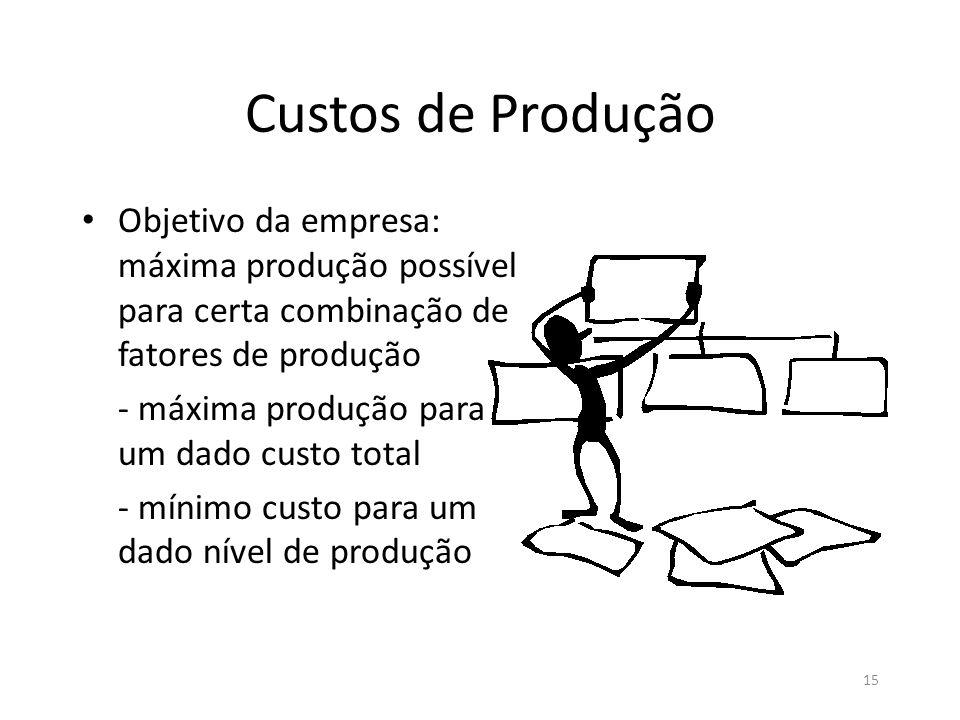 Custos de Produção Objetivo da empresa: máxima produção possível para certa combinação de fatores de produção.