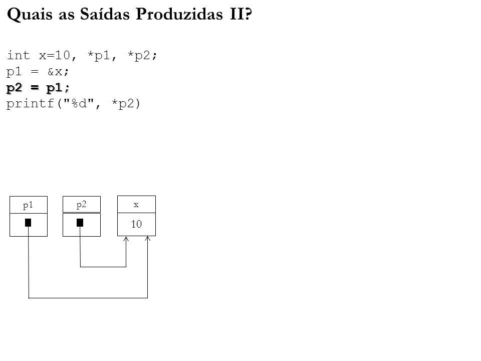 Quais as Saídas Produzidas II. int x=10,. p1,