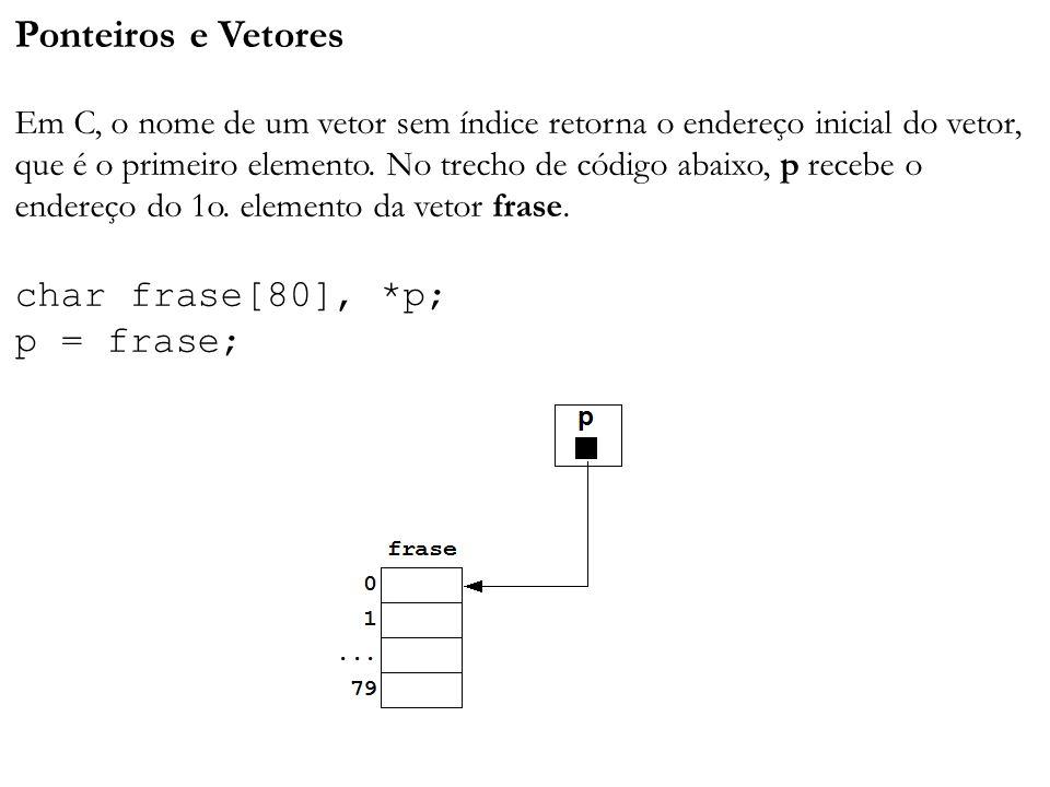 Ponteiros e Vetores Em C, o nome de um vetor sem índice retorna o endereço inicial do vetor, que é o primeiro elemento.