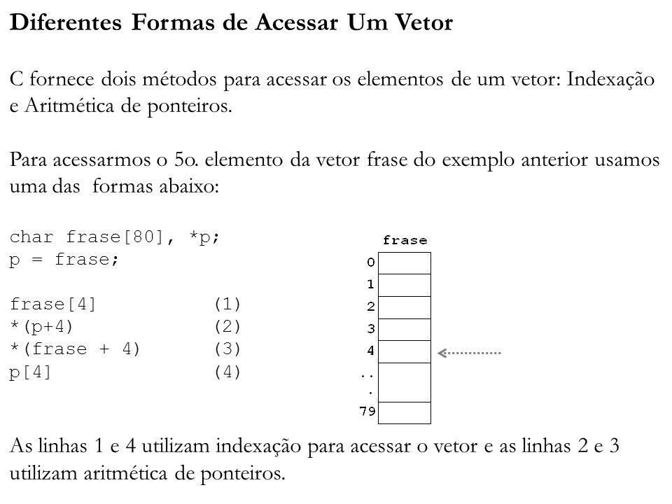Diferentes Formas de Acessar Um Vetor C fornece dois métodos para acessar os elementos de um vetor: Indexação e Aritmética de ponteiros.