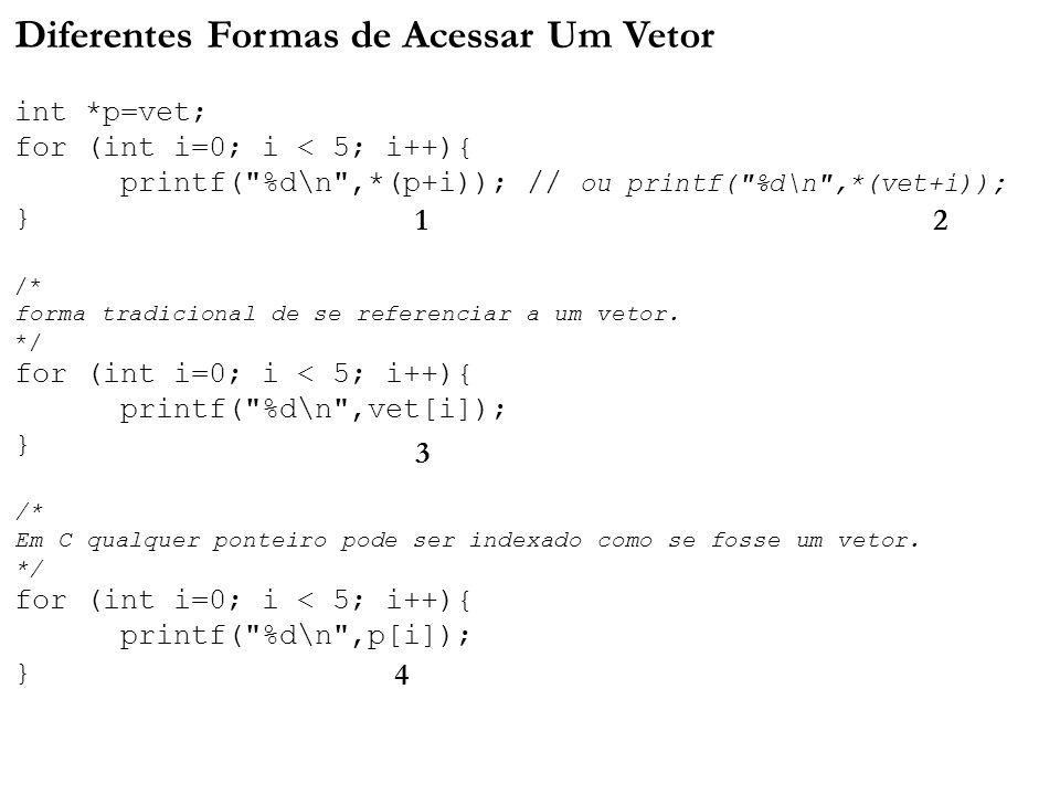 Diferentes Formas de Acessar Um Vetor int. p=vet;