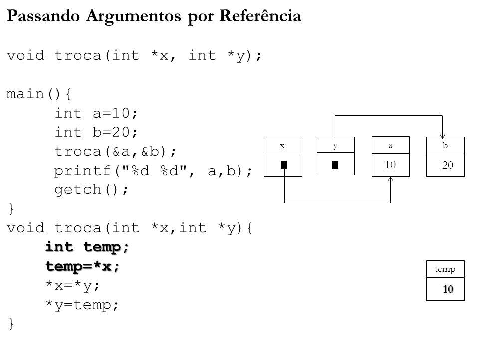 Passando Argumentos por Referência void troca(int. x, int