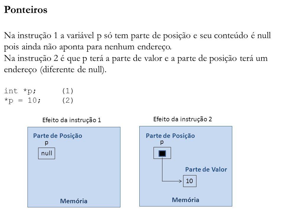 Ponteiros Na instrução 1 a variável p só tem parte de posição e seu conteúdo é null pois ainda não aponta para nenhum endereço. Na instrução 2 é que p terá a parte de valor e a parte de posição terá um endereço (diferente de null). int *p; (1) *p = 10; (2)