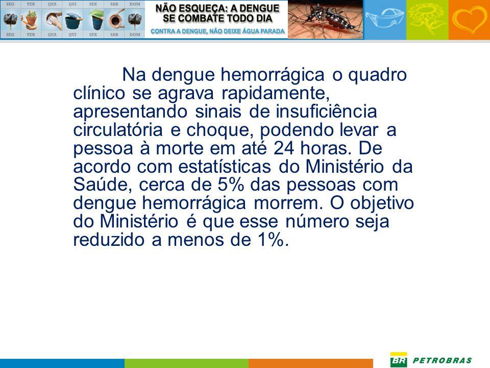 Na dengue hemorrágica o quadro clínico se agrava rapidamente, apresentando sinais de insuficiência circulatória e choque, podendo levar a pessoa à morte em até 24 horas.