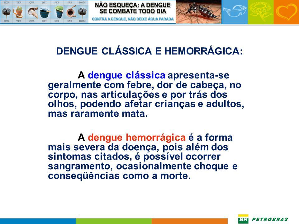 DENGUE CLÁSSICA E HEMORRÁGICA: