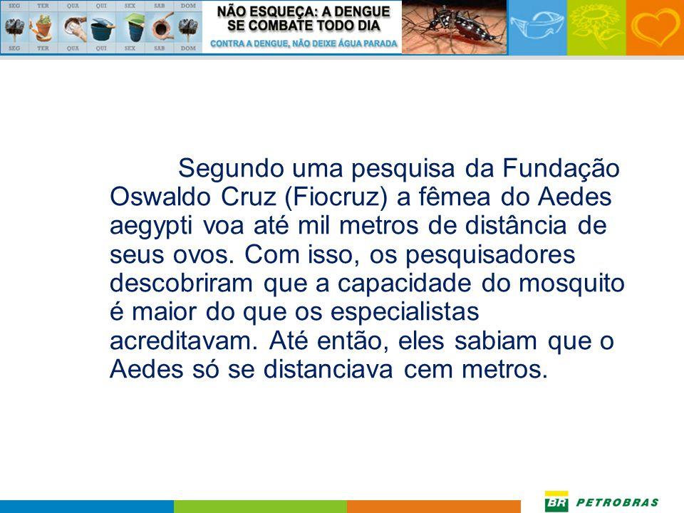 Segundo uma pesquisa da Fundação Oswaldo Cruz (Fiocruz) a fêmea do Aedes aegypti voa até mil metros de distância de seus ovos.