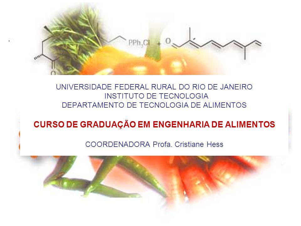 UNIVERSIDADE FEDERAL RURAL DO RIO DE JANEIRO INSTITUTO DE TECNOLOGIA DEPARTAMENTO DE TECNOLOGIA DE ALIMENTOS CURSO DE GRADUAÇÃO EM ENGENHARIA DE ALIMENTOS COORDENADORA Profa.