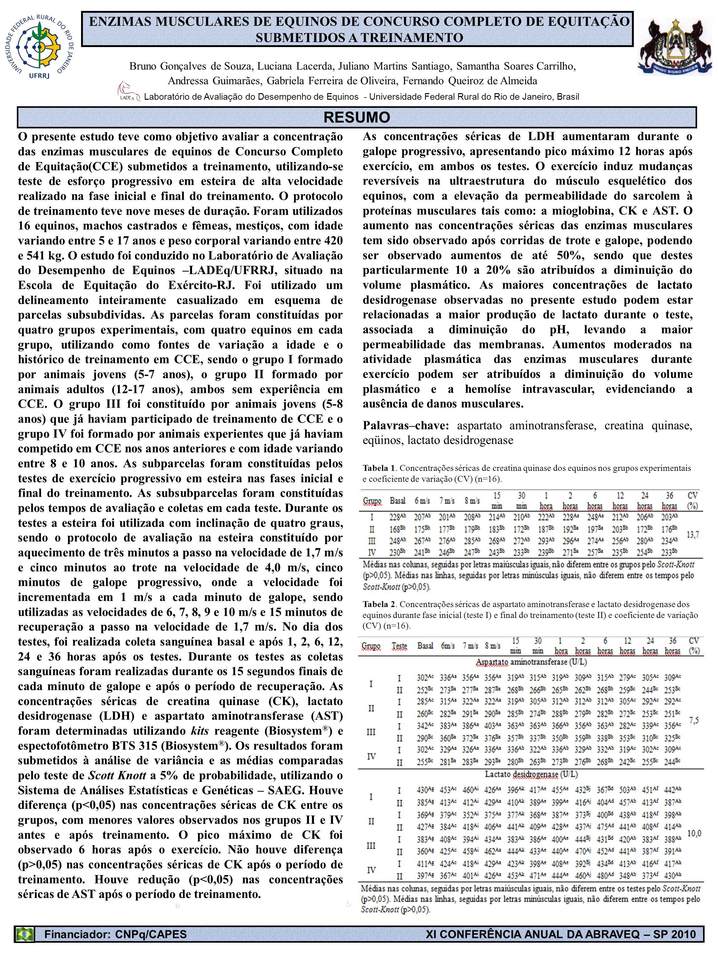 ENZIMAS MUSCULARES DE EQUINOS DE CONCURSO COMPLETO DE EQUITAÇÃO SUBMETIDOS A TREINAMENTO