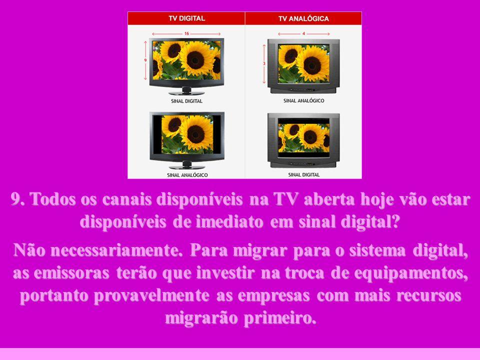 9. Todos os canais disponíveis na TV aberta hoje vão estar disponíveis de imediato em sinal digital