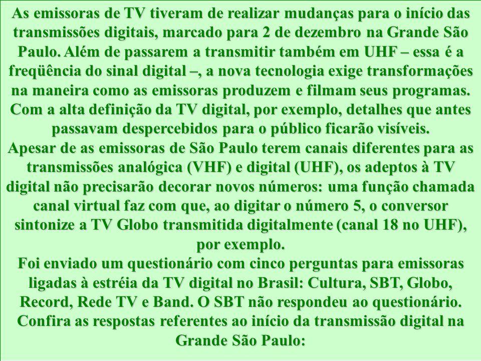 As emissoras de TV tiveram de realizar mudanças para o início das transmissões digitais, marcado para 2 de dezembro na Grande São Paulo.