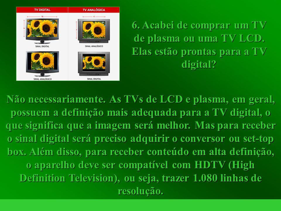 6. Acabei de comprar um TV de plasma ou uma TV LCD