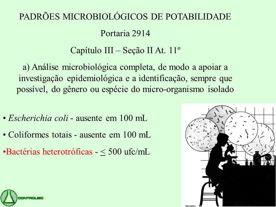 PADRÕES MICROBIOLÓGICOS DE POTABILIDADE Portaria 2914